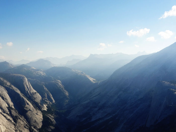 Views from the summit.  Half Dome Yosemite National Park