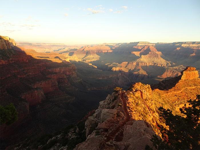 Beautiful sunrise hugging the Grand Canyon