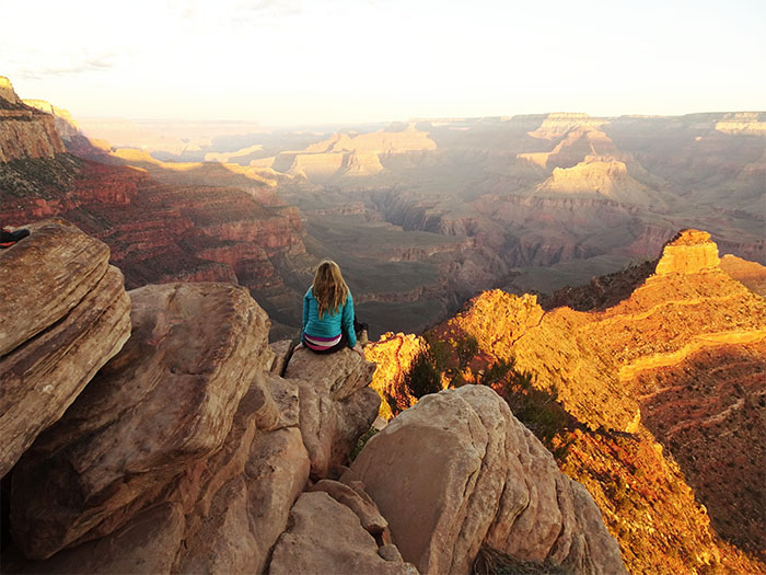 Enjoying the sunrise on the South Kaibab Trail.  Grand Canyon National Park