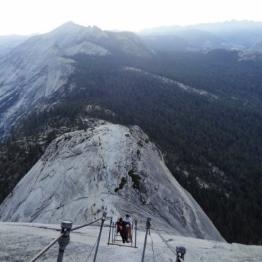 Half Dome: Climbing the cables.