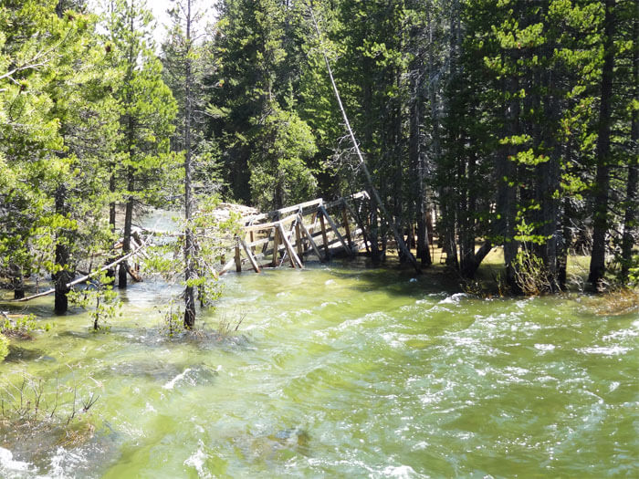 Collapsed second bridge at on Glen Aulin Trail