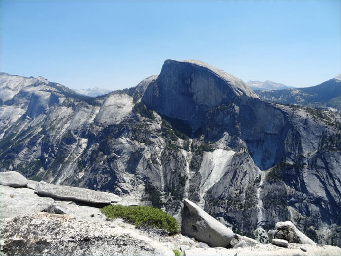View of Half Dome from the top of North Dome Summit. Yosemite National Park.